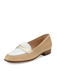 Gravati Colorblock Leather Penny Loafer Beige White Yellow Size 39.5B 9.5B Beige White Yello