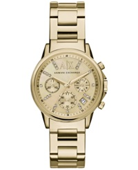 Ax Armani Exchange Women's Chronograph Gold Tone Stainless Steel Bracelet Watch 36Mm Ax4327