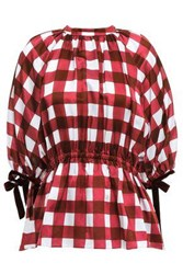 Mother Of Pearl Woman June Velvet Trimmed Checked Cotton And Silk Blend Top Crimson