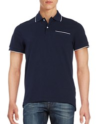 Baffin Contrast Trimmed Pique Polo Shirt Navy