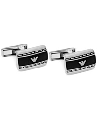 Emporio Armani Stainless Steel And Matte Lacquer Logo Cufflinks