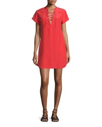Frame Denim Le Lace Up Silk Shift Dress Blood Orange