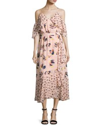 Tanya Taylor Designs Amylia Textured Silk Abstract Floral Midi Dress Pink Pink Pattern