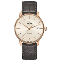 Rado R22861115 Unisex Coupole Classic Date Automatic Leather Strap Watch Dark Brown Gold