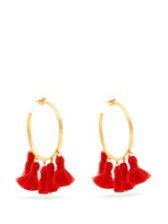 Marte Frisnes Raquel Gold Plated Tassel Hoop Earrings Red