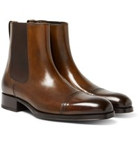 Tom Ford Edgar Burnished Leather Cap Toe Chelsea Boots Brown