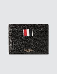 Thom Browne Card Holder In Pebble Grain Black