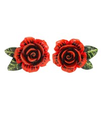 Dolce And Gabbana Rose Resin Earrings Red