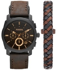 Fossil Men's Chronograph Machine Brown Leather Strap Watch And Bracelet Box Set 42Mm Fs5251set