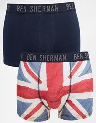Ben Sherman 2 Pack Trunks Flag Print Blue
