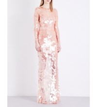 Givenchy Sequinned Fishnet Mesh Gown Skin