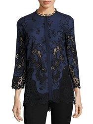 Elie Tahari Dillon Broderie Anglaise Cotton And Silk Blouse White Meridian Black
