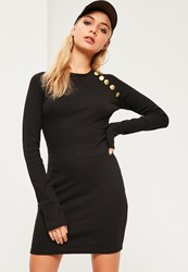 Missguided Black Military Button Bodycon Dress