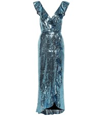 Monique Lhuillier Sequined Dress Blue