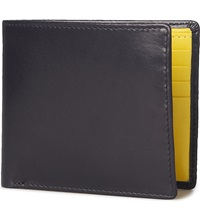 Launer Contrastlining Eight Card Billfold Wallet Navy Yellow