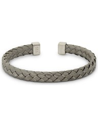 Tateossian Bamboo Braid Sterling Silver Bracelet Black Ru