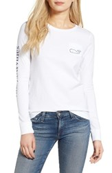 Vineyard Vines Women's Whale Print Long Sleeve Tee White Cap