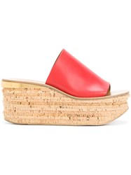 Chloe Camille Wedge Mules Red