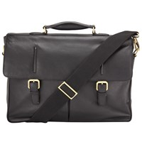 John Lewis Salzburg Leather Briefcase Black