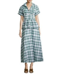 Rosie Assoulin Short Sleeve Seersucker Shirtdress White Green Green White
