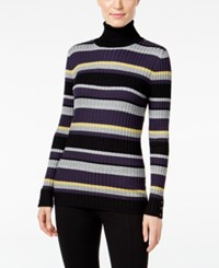 Styleandco. Style Co. Striped Turtleneck Sweater Only At Macy's Dp Black Combo