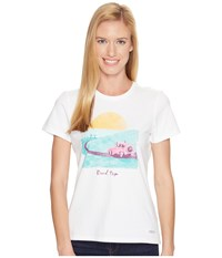 Life Is Good Road Trip Sunset Crusher Tee Cloud White Women's T Shirt