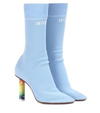 Vetements Stretch Jersey Ankle Boots Blue