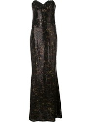 Marchesa Notte Sequined Strapless Gown Black