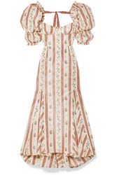 Brock Collection Ruffled Floral Print Taffeta Maxi Dress Pink