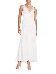 Max Studio Lace Trimmed Gauze Maxi Dress White