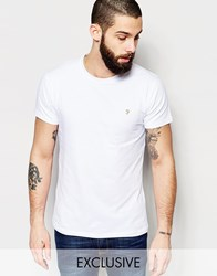 Farah T Shirt With F Logo Muscle Fit Exclusive White