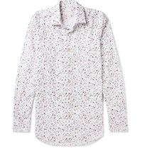Paul Smith Slim Fit Floral Print Cotton Shirt White