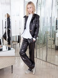 Alexis Mabille Straight Pants In Black Sequins