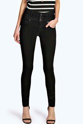 Boohoo Super High Waisted Skinny Jeans Black