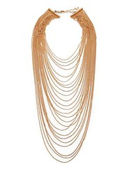 Abs By Allen Schwartz Multi Row Draped Ball Chain Necklace Gold