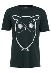 Knowledge Cotton Apparel Owl Print Tshirt Green Gables Dark Green
