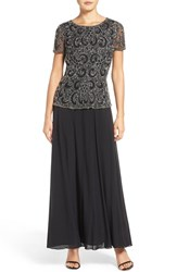 Pisarro Nights Women's Beaded Mock Two Piece Gown