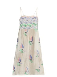 Thierry Colson Rock The Boat Silk Dress Green Multi