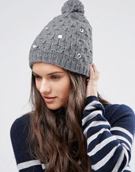 Alice Hannah Cable Knit With Gem Beanie Grey