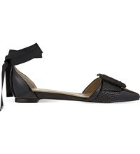 Whistles Avalon Ankle Tie Flats Black