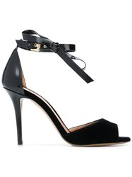 Emporio Armani Ankle Bow Strap Sandals Black