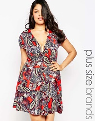 Club L Plus Size Skater Dress In Paisley Print With Open Neck Redpiasley