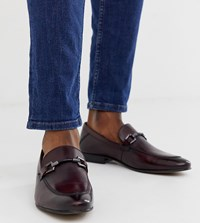 Base London Wide Fit Soprano Bar Loafers In Bordo Leather Red