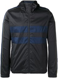 Paul Smith Ps By Striped Detail Hooded Jacket Black