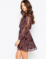 Influence High Neck Paisley Dress With Long Sleeves Blue