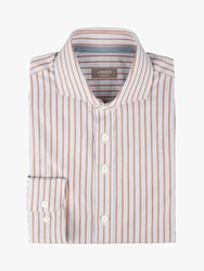 Jaeger Bold Stripe Regular Fit Shirt Rust