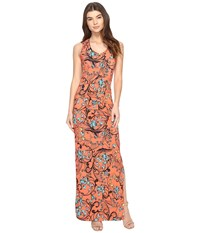 Nicole Miller Floral Nouveau Vanessa Maxi Hot Coral Women's Dress Red