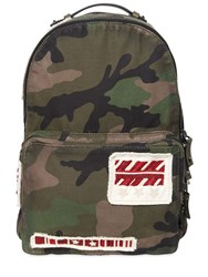 Valentino Military Patches On Camo Canvas Backpack