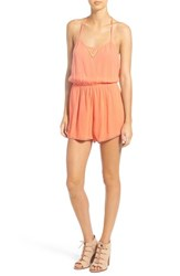Roxy Women's 'Columbia' Embellished Woven Romper Living Coral