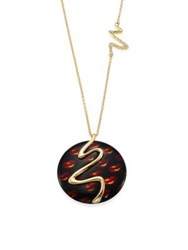 Alexis Bittar Lucite Cherry Lip Liquid Metal Pendant Necklace Tortoise